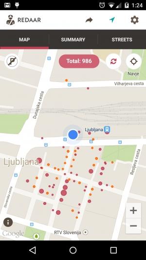 Zemljevid s prikazanimi prekrški