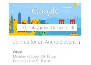 Googlovo povabilo na Android dogodek