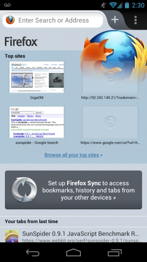 Firefox za Android z domačim vmesnikom